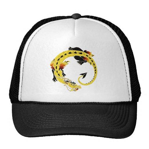 Dragón en espiral de oro gorros bordados