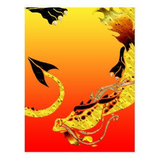 Dragón en espiral de oro tarjetas postales