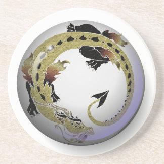 Dragón en espiral del cacao posavasos de arenisca