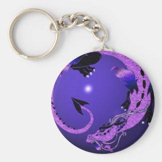 Dragón en espiral púrpura llaveros personalizados