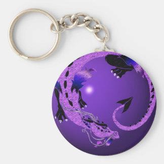 Dragón en espiral púrpura llavero personalizado