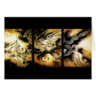 Dragón en la bella arte del japonés de Hiroshige Tarjeta Pequeña