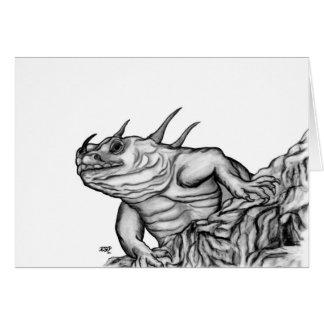 Dragón en la roca tarjeta de felicitación