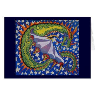 Dragón en las estrellas tarjeta de felicitación
