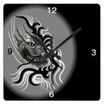 Dragón en Tattoostyle Reloj De Pared