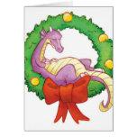 Dragón en una guirnalda del navidad tarjetas