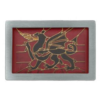 Dragón en vitral hebilla cinturon rectangular