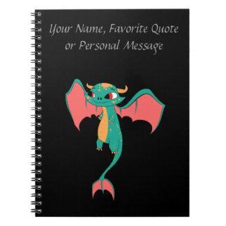 Dragón en vuelo, criatura mágica libro de apuntes con espiral