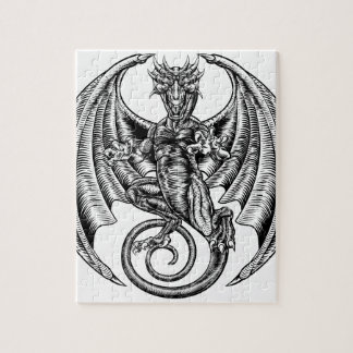 Dragon Engraved Etching Woodcut Style Jigsaw Puzzle