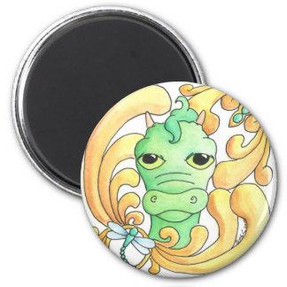 Dragón enmarcado imán redondo 5 cm