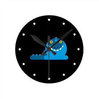 Dragón enojado azul reloj de pared