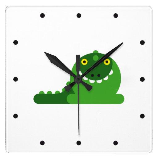 Dragón enojado verde reloj de pared
