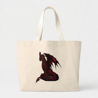 dragón épico rojo bolsa tela grande