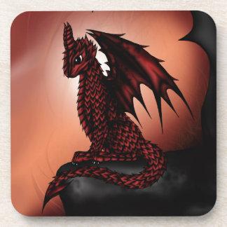 dragón épico rojo posavasos de bebidas
