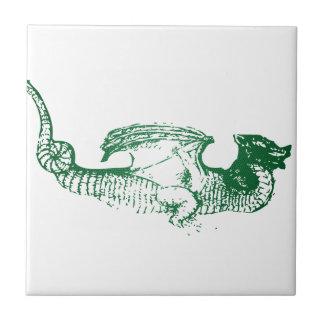 Dragón escalado verde azulejo cuadrado pequeño