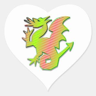 Dragón estilizado pegatina en forma de corazón