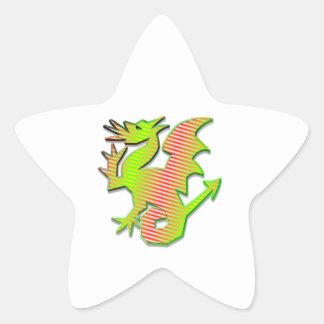 Dragón estilizado pegatina en forma de estrella