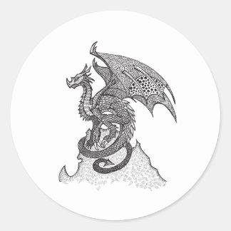 Dragón estoico pegatina redonda