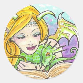 Dragon Fairy and Book fantasy art stickers