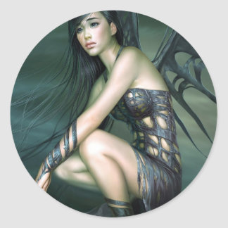 dragon fairy classic round sticker
