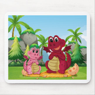 Dragon family mouse pad