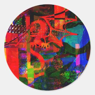 Dragon Fantsy Collage100_2751 Classic Round Sticker