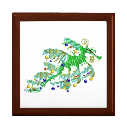 Dragón festivo del mar joyero cuadrado grande