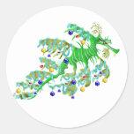 Dragón festivo del mar pegatinas redondas