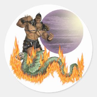 Dragon Fighter Classic Round Sticker