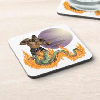"Dragon Fighter Cork Coaster (6) 3.8 x 3.8"""