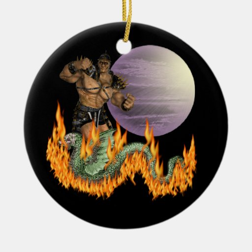 Dragon Fighter Double-Sided Ceramic Round Christmas Ornament