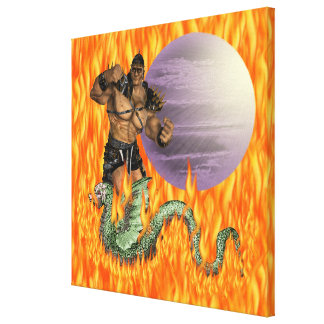 """Dragon Fighter Wrapped Canvas 20x20"""""""