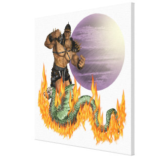 """Dragon Fighter Wrapped Canvas 30x30"""""""
