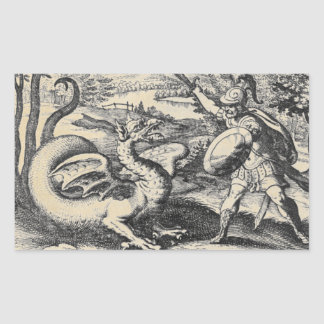 Dragon Fighting Knight in Armor Rectangular Sticker