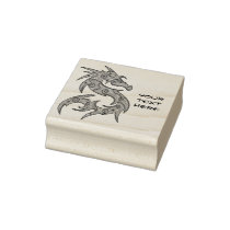 Dragon filled with Dots Pattern - left Rubber Stamp