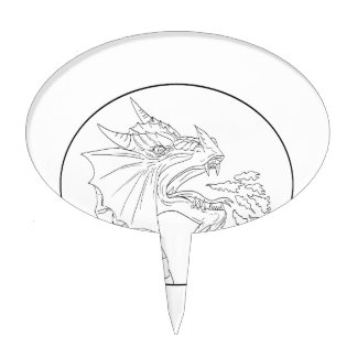 Dragon Fire Circle Drawing Cake Topper