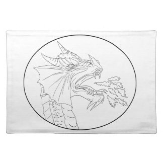 Dragon Fire Circle Drawing Cloth Placemat