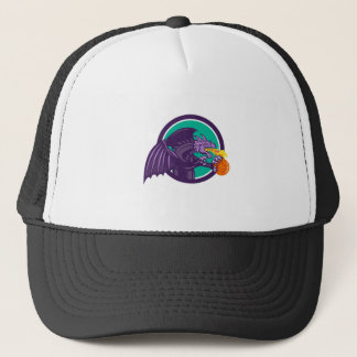 Dragon Fire Holding Basketball Circle Retro Trucker Hat
