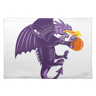 Dragon Fire Holding Basketball Isolated Retro Placemat