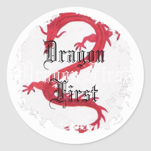 Dragon First Distressed Round Stickers