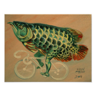 Dragon Fish on a Bicycle Poster