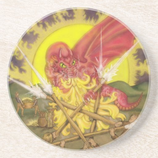 Dragon Five of Wands Beverage Coaster