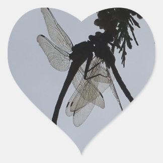 Dragon fly heart sticker