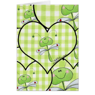 Dragon Fly in green gingham heart Card