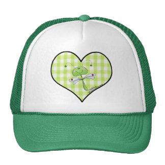Dragon Fly in green gingham heart Trucker Hat