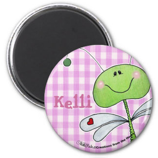 Dragon Fly on Pink Gingham 2 Inch Round Magnet