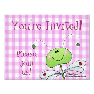 """Dragon Fly on Pink Gingham 4.25"""" X 5.5"""" Invitation Card"""