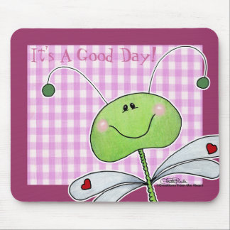 Dragon Fly on Pink Gingham Mouse Pad