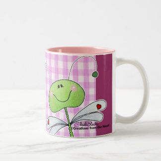 Dragon Fly on Pink Gingham Coffee Mugs