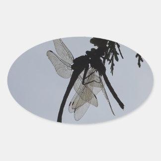 Dragon fly oval sticker